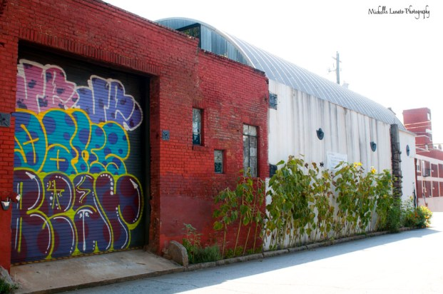 Loved the look of this old brick, arched roof and graffiti style door.