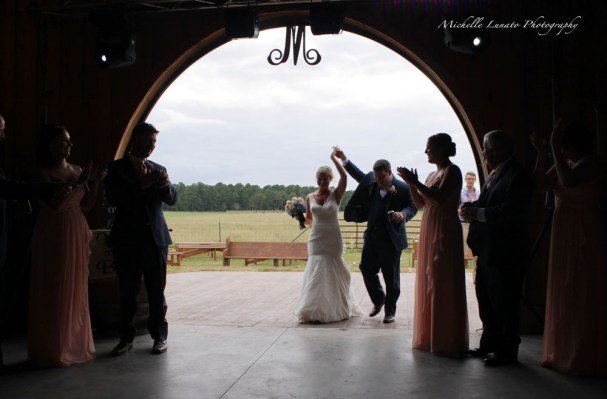 The arched doorway offered the happy couple a grand entrance.