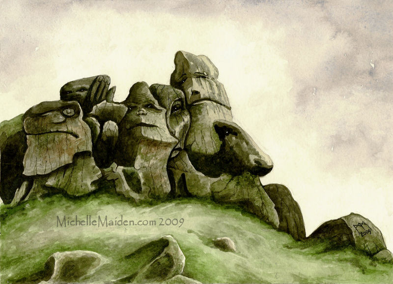 painting of rock giants, mountain giants, giants in the mountains