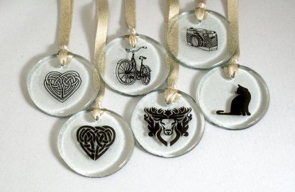 Various designs in black, used on ornaments for the holidays