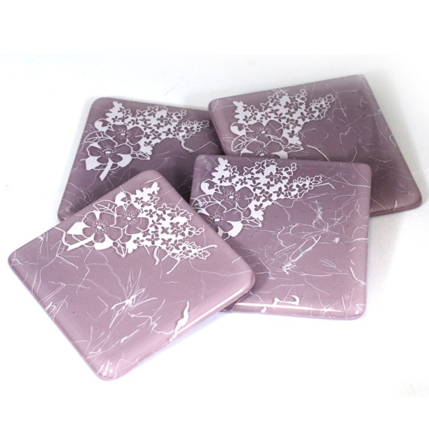 Lilac design in white, on lavender coaster set