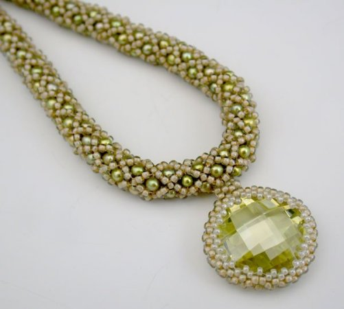 Hand-beaded necklace by Rose Savage Ouellette Jewellery
