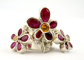 Sterling silver and gemstone ring and earring set by Pagliai Jewellery