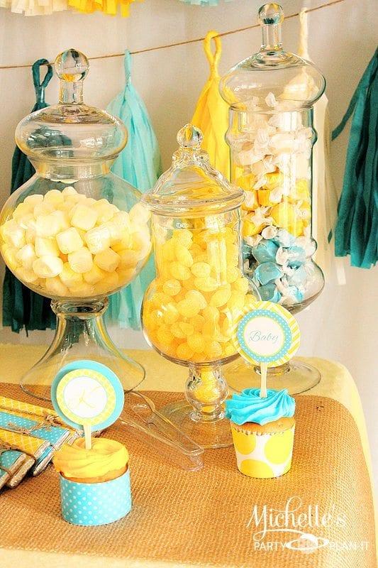 A Yellow Aqua Baby Shower Michelles Party Plan It