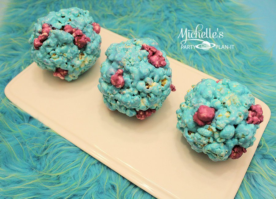 Monsters University Inspired Sulley Popcorn Balls