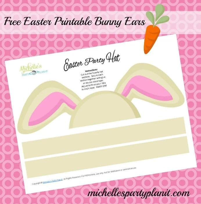 Free DIY Easter Bunny Ears Party Hat