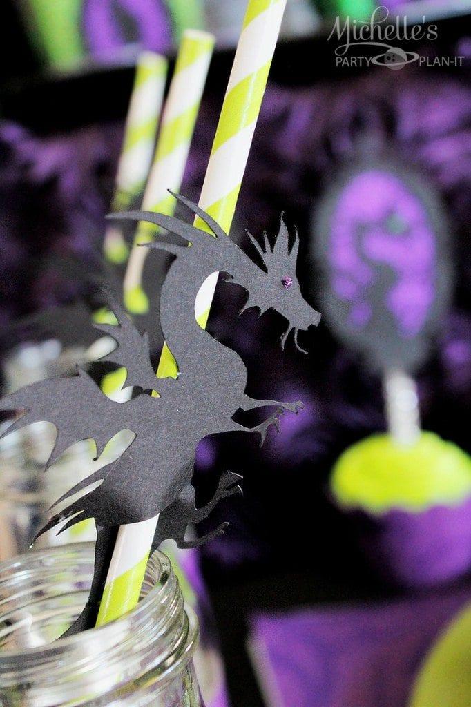 Maleficent Party Ideas - Dragon Straws