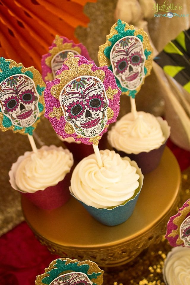 Day of the Dead Party Cupcakes with Toppers