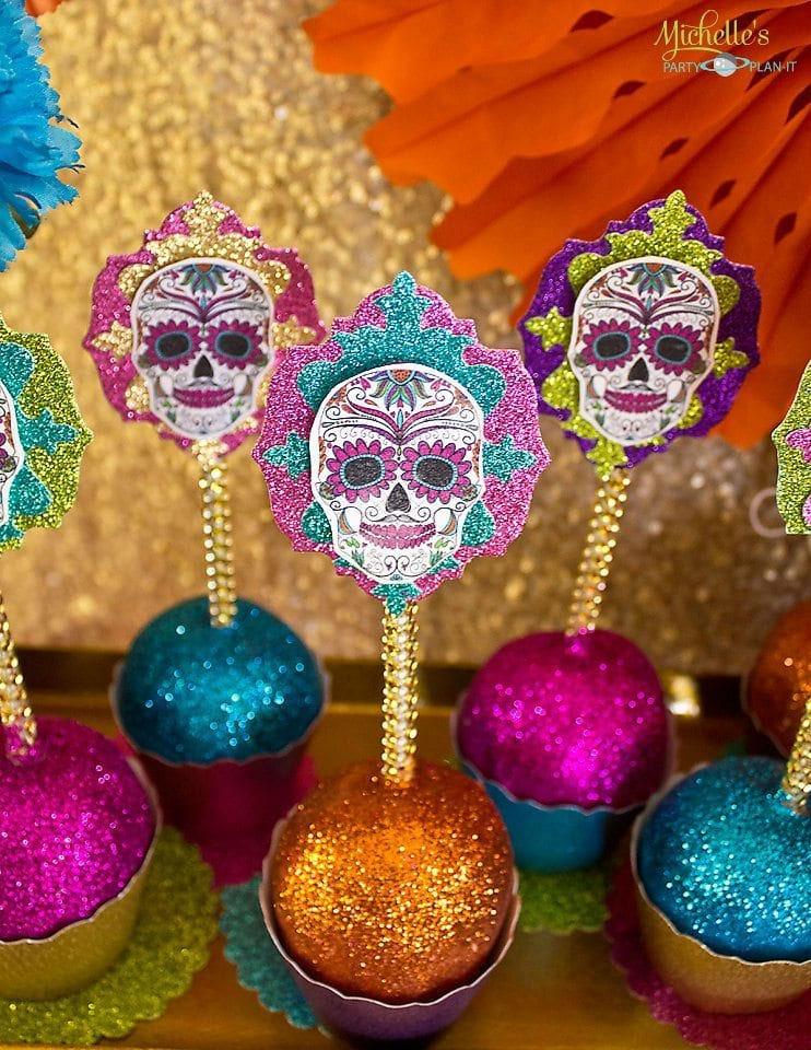 Day of the Dead Candy Apples with Toppers