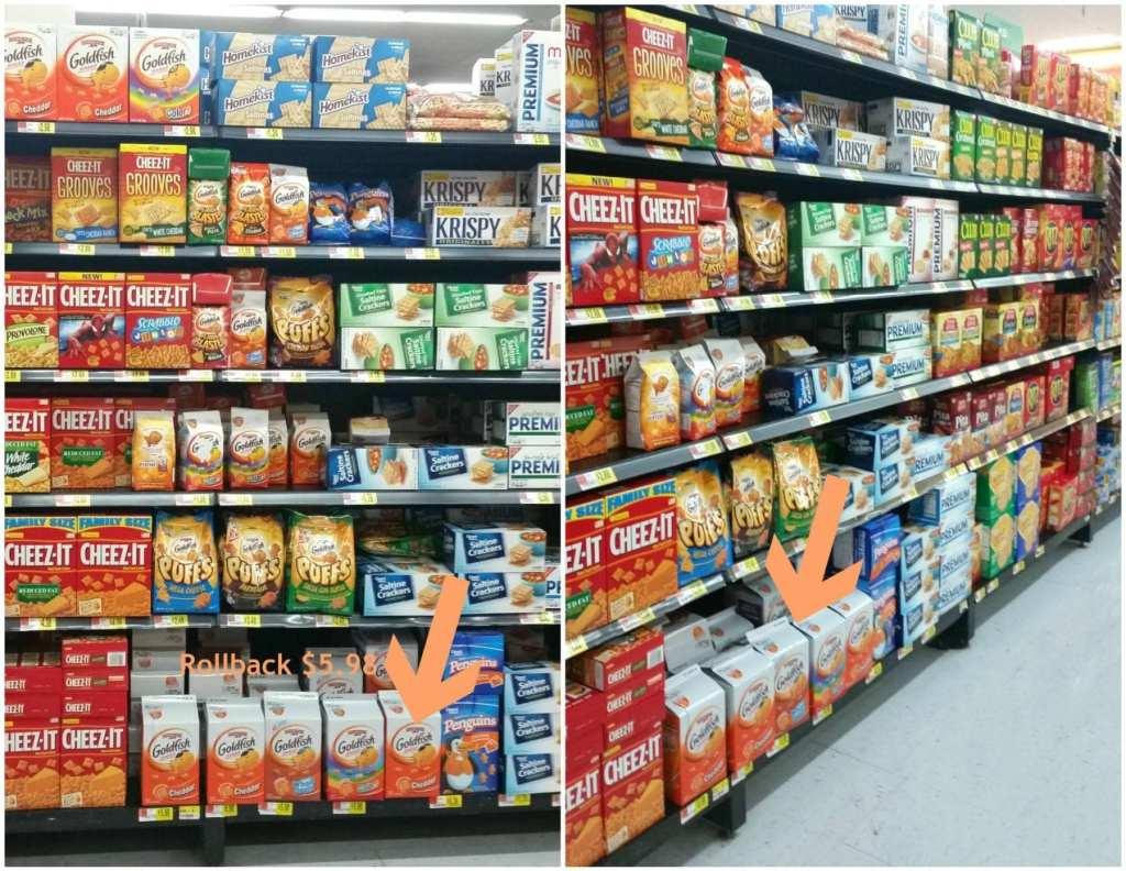 Goldfish crackers on Rollback at WalMart