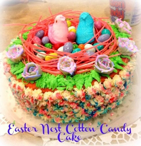 Easter Nest Cotton Candy Cake