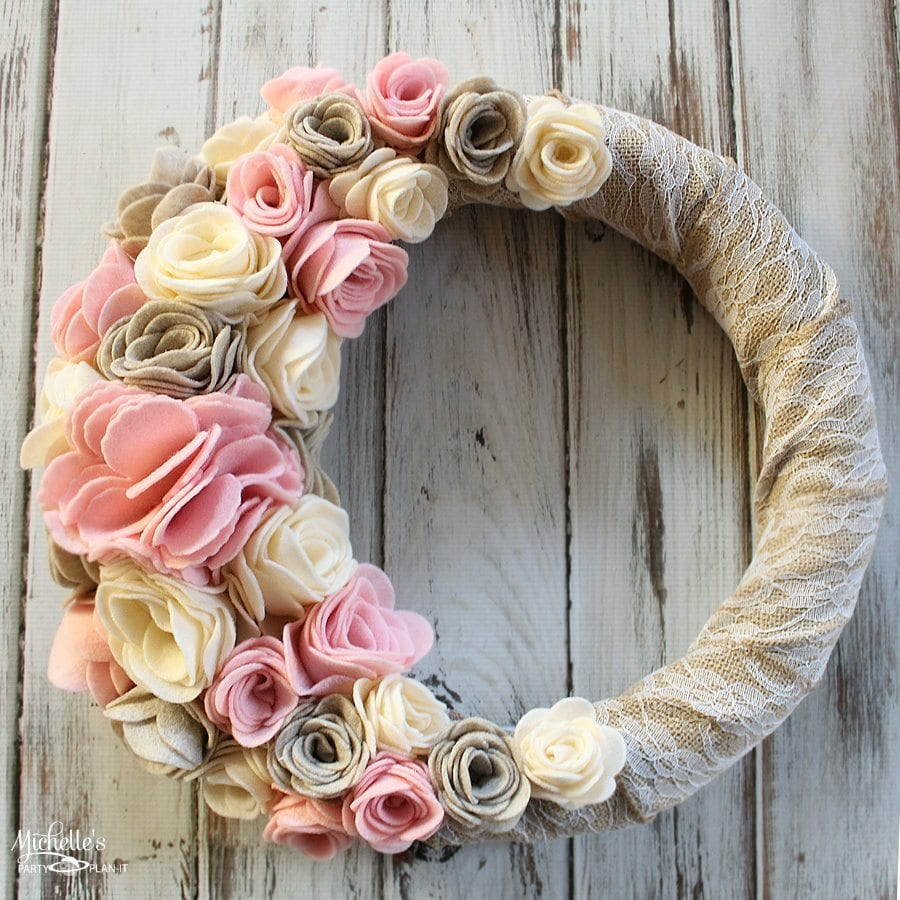 Felt Flower Wreath Sizzix Tutorial Michelles Party