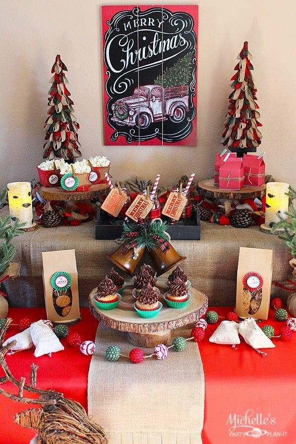 Easy Rustic Christmas Party Decor and Dessert Table ...