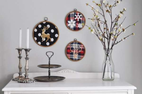 Deer Embroider Hoop Christmas Wall Art