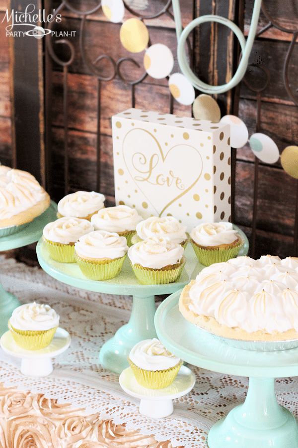 Welcome A New Baby With A Mint & Gold Baby Shower Dessert Table