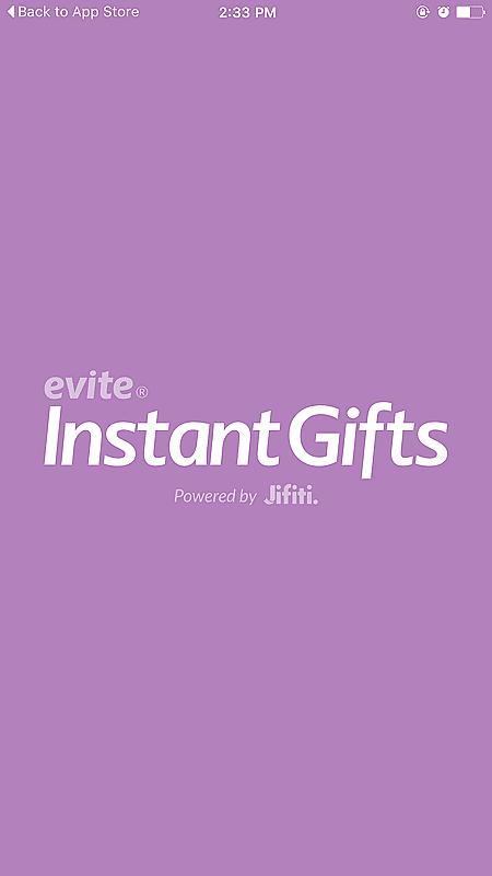 Evite Instant Gift App