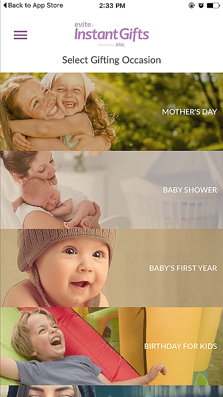 Celebrate MOM with the EVITE Instant Gift App