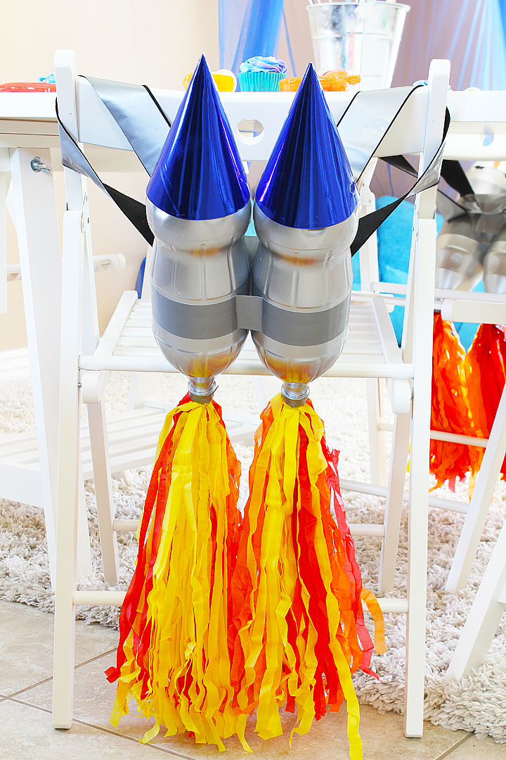 Outer Space Party and Play Date Ideas - DIY Rocket Booster