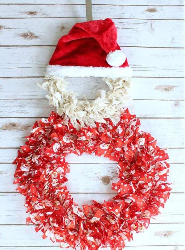Santa Rag Tie Wreath