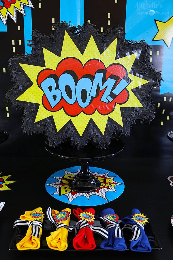 Budget Friendly Superhero Party Centerpiece