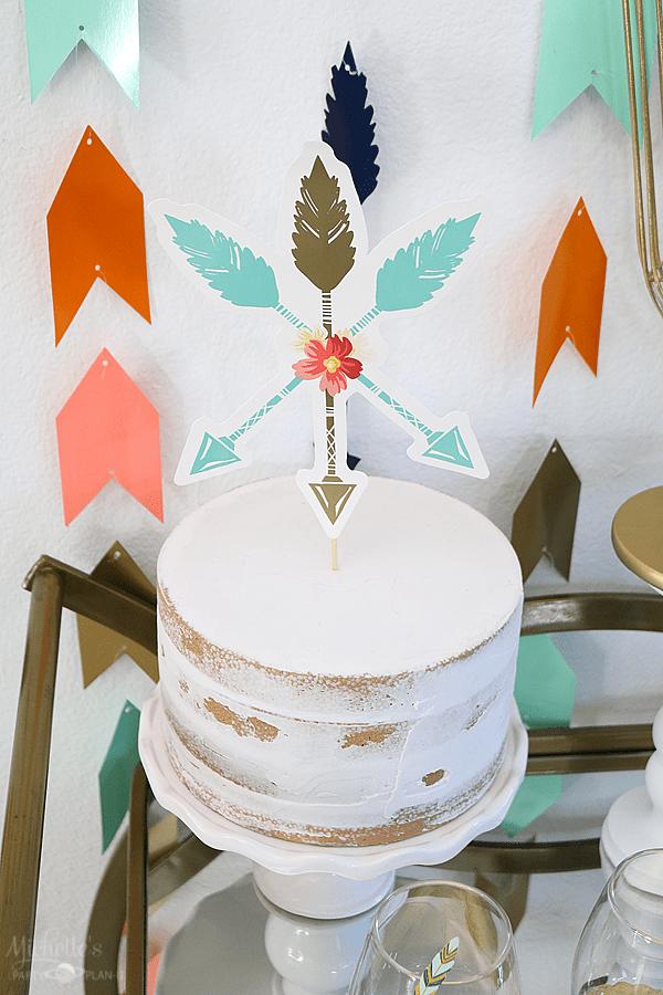 Naked Cake with Boho Cake Topper