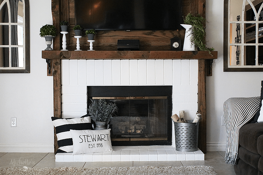 How To Paint A Brick Fireplace Diy Before After Michelle S