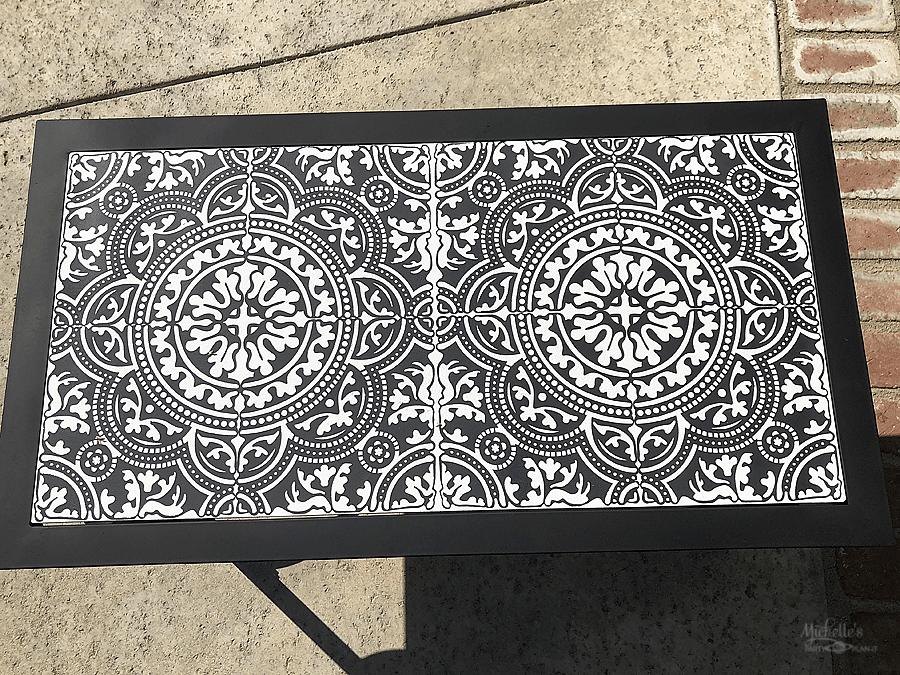 Stenciled Ceramic Tile Table Top