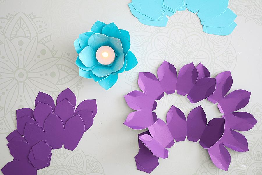 easy paper flower tealights