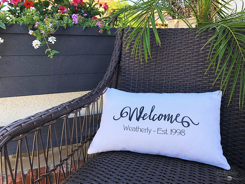 Easy DIY Personalized Welcome Pillow with Cricut by Michelle Stewart