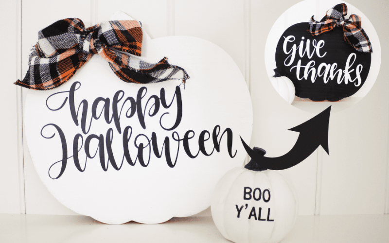 DIY 2 in 1 Fall Sign   How to Apply Heat Transfer Vinyl to Painted Wood