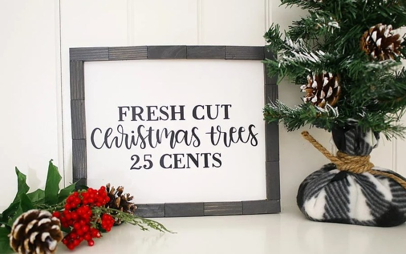 DIY Farmhouse Christmas Sign with Cricut and Dollar Store Finds