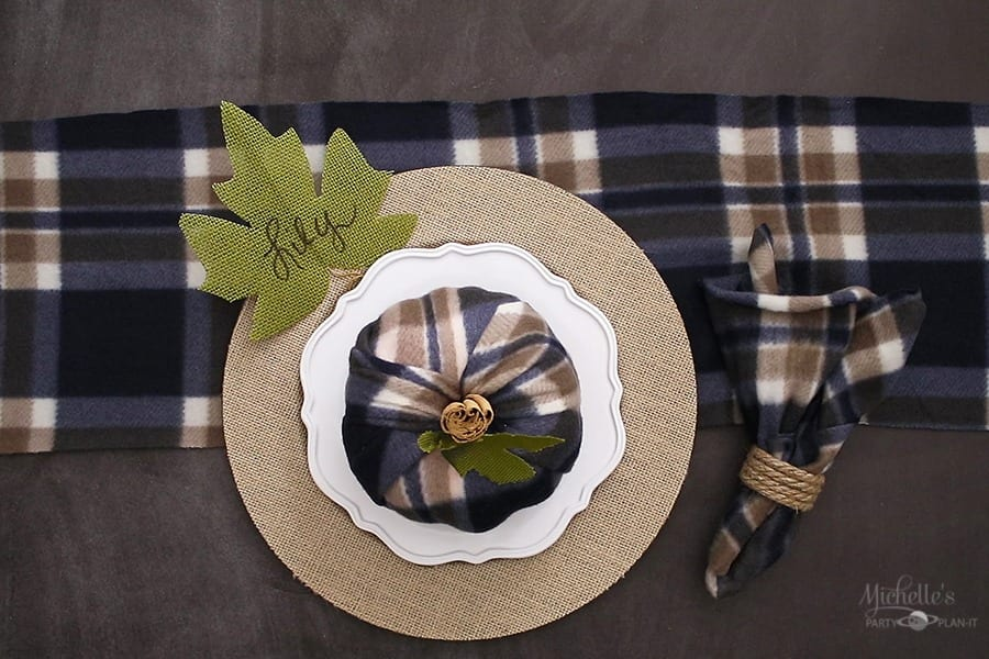 Dollar Tree Budget Friendly Fall Decor - Navy Plaid
