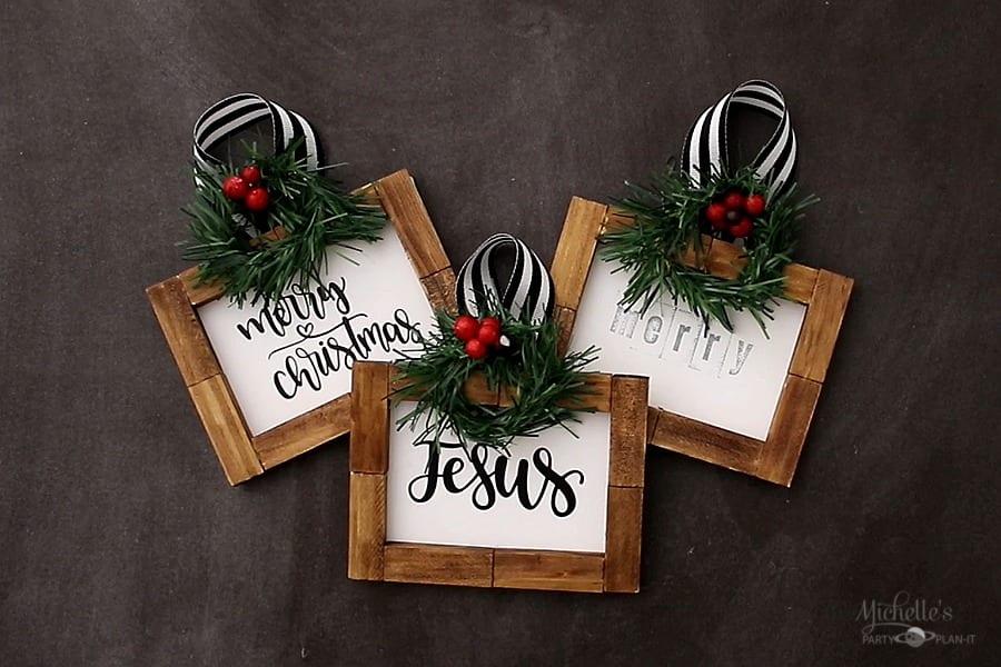 DIY Framed Farmhouse Christmas Ornaments Cricut Crafts by Michelle Stewart
