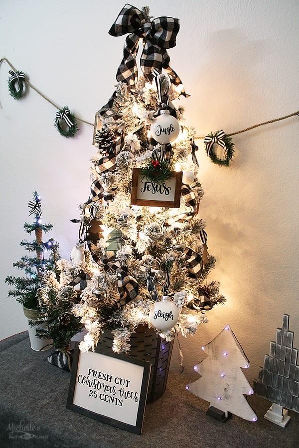 Tabletop Tree Ideas - Buffalo Check DIY