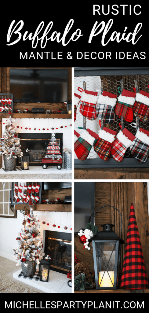 Rustic buffalo plaid mantle