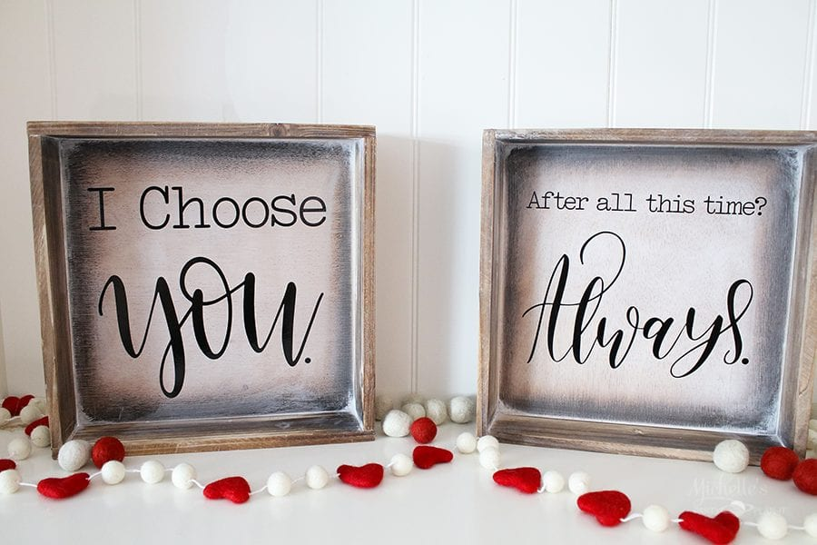 DIY Farmhouse Signs - Valentine's Day Home Decor with Cricut by Michelle Stewart