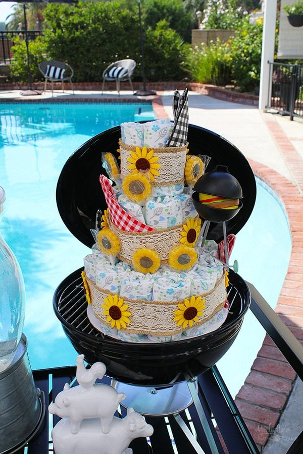 Baby shower bbq diaper cake