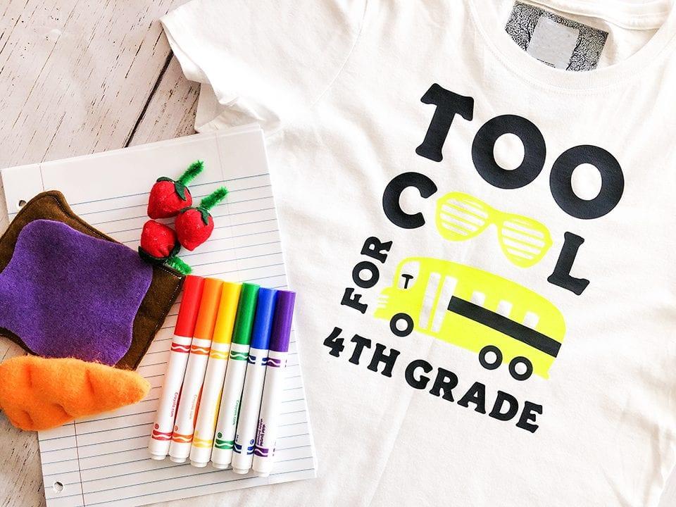 Too cool for 4th grade tshirt