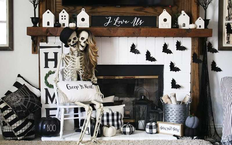 Farmhouse Halloween Mantle Decor Idea | Happy Skeleton Day!