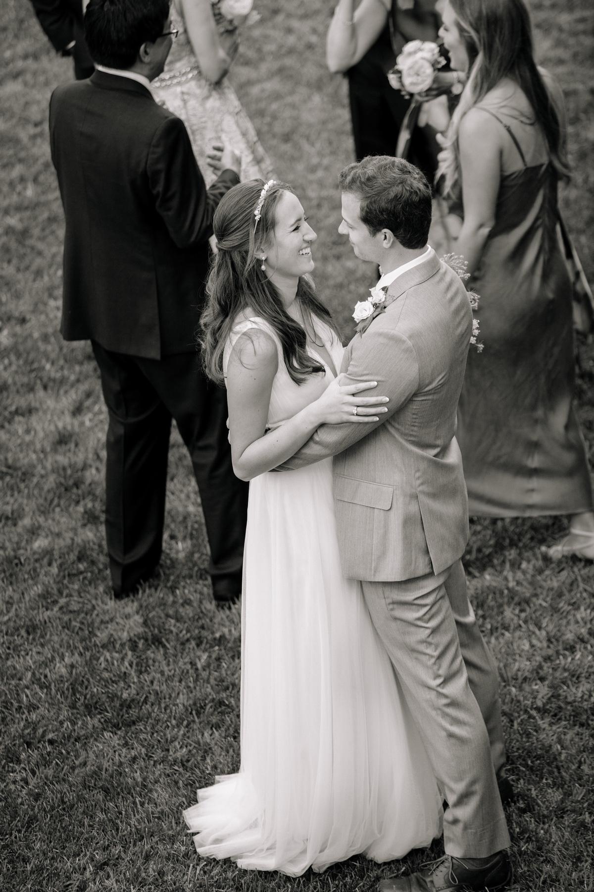 bride and groom at their backyard wedding reception