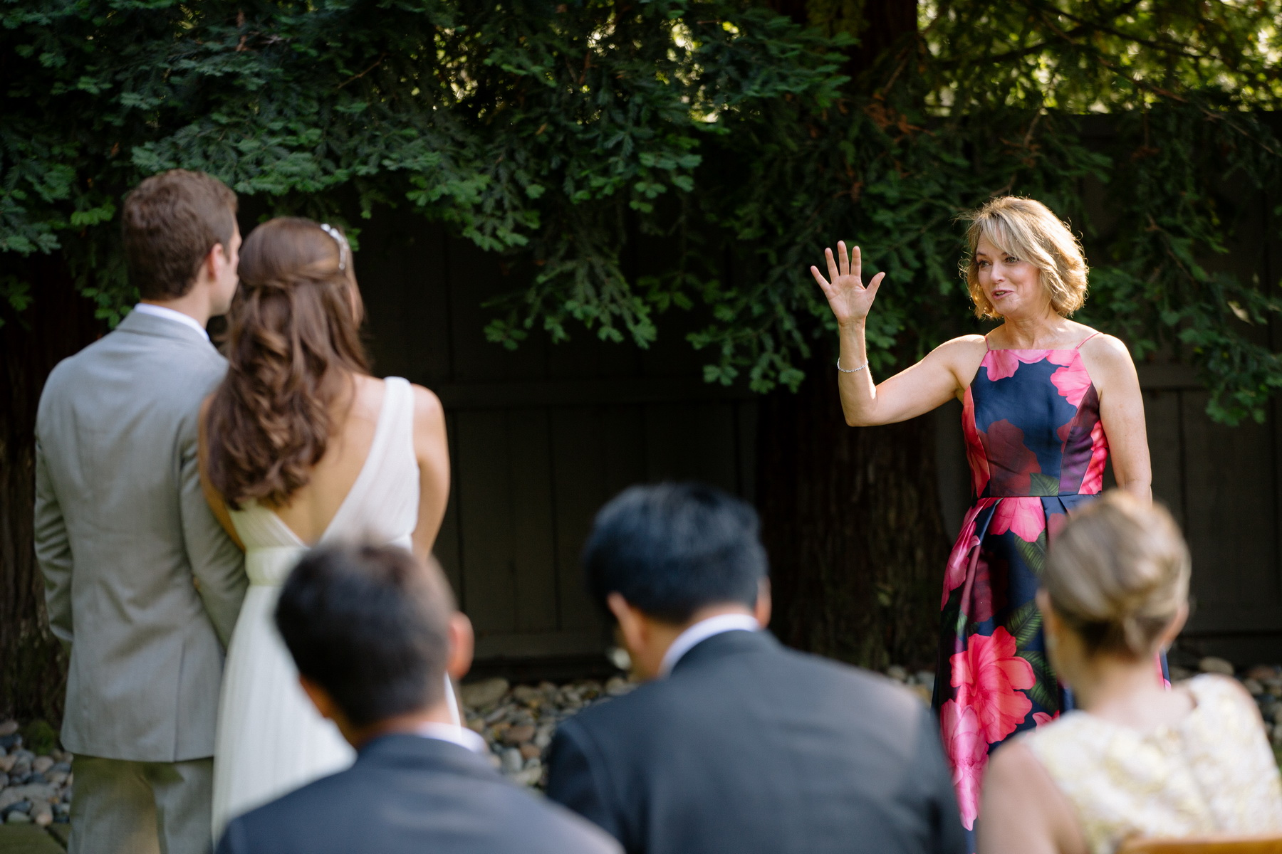 mom blesses couple at their backyard wedding