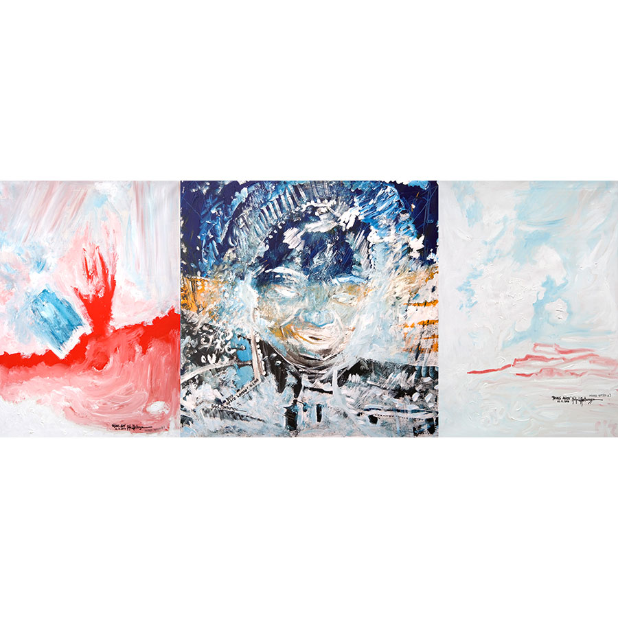 Triptych painting 'Universe Triptych' by Michel Montecrossa