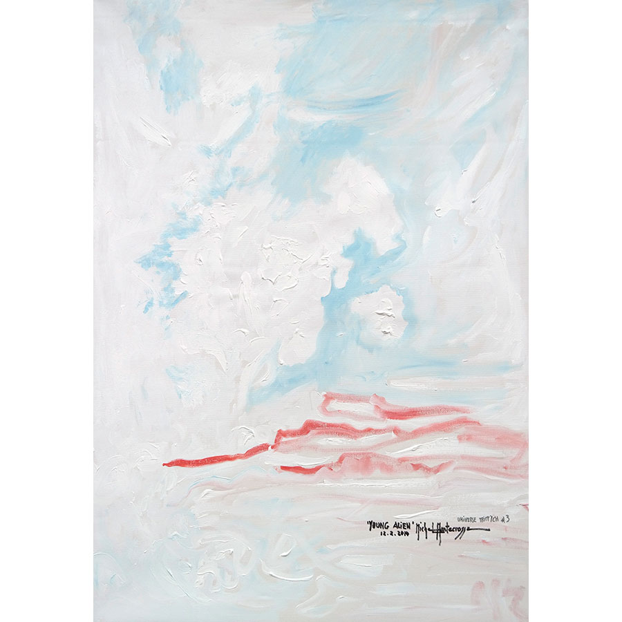 'Young Alien' (right side painting of the Universe Triptych) - painting by Michel Montecrossa