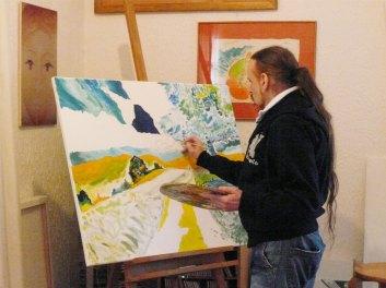 Michel Montecrossa working on his painting 'Self Portrait as a Landscape''