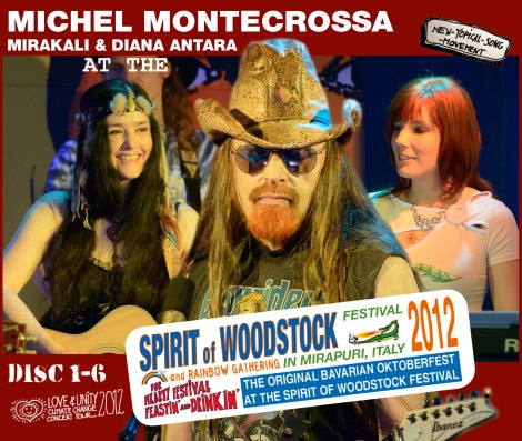 Michel Montecrossa's 'Love & Unity Climate Change' concert series at the Spirit of Woodstock Festival 2012 in Mirapuri, Italy released as two Boxes-Set with twelve Audio-CDs or DVDs
