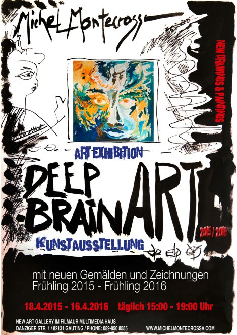 'DEEP BRAIN' Art Exhibition of new Michel Montecrossa paintings and drawings at the Filmaur Multimedia House in Gauting near Munich, Germany