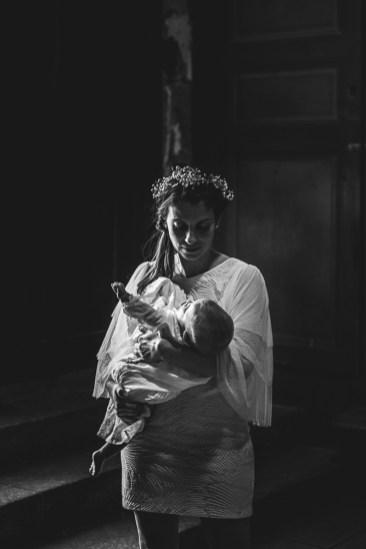 Photo noir et blanc baptême