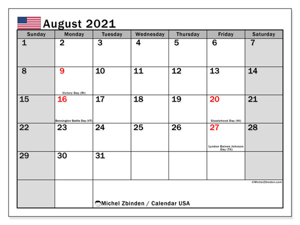 """This article is for the august 2021 calendar template with holidays, which is available in different formats such as word, excel, jpg, png, and pdf. Calendar """"USA"""" - Printing August 2021 - Michel Zbinden EN"""