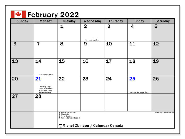 """You can download it for free in pdf format. Printable February 2022 """"Canada"""" Calendar - Michel Zbinden EN"""