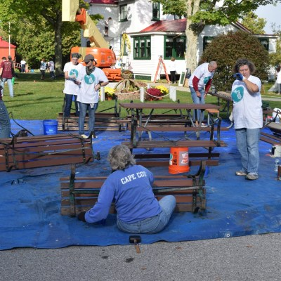 Painting benches